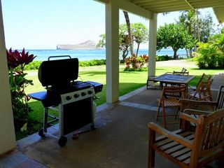 Waimanalo house photo - Downstairs Patio with Grill & Amazing Ocean Views