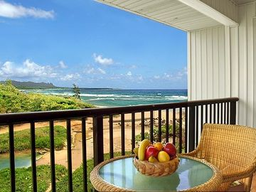 Wailua condo rental - Looking out to Wailua Bay from your private lanai.