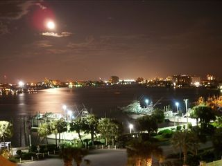 Destin condo rental - Romantic Destin Harbor by moonlight. Photo taken from the balcony.