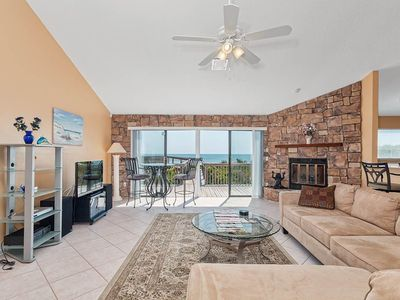 Our living room is THE place to gather at Sun Dancer house! - Enjoy fresh sea breezes, beach front views, and a comfortable place to gather with friends and family. Sun Dancer house, on Ponte Vedra Beach, is ideal for your Florida beach vacation!