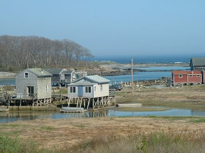 Fish house cottage on stilts small private beach for Fishing cabin rentals near me