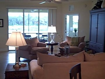 Bradenton condo rental - View from living room to lanai and rear