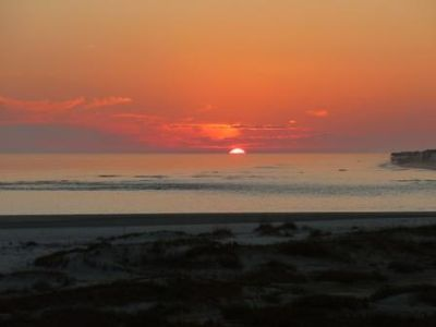 sunset view with eastern tip of Ocean Isle Beach