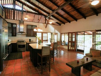 Santa Teresa estate rental - Kitchen and family sitting room.
