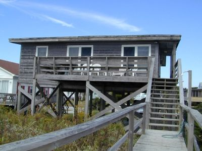 Oak Island cottage rental - Ocean side view with deck and outside shower