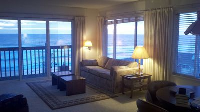 Spectacular ocean view from 3 panoramic windows in the living room.