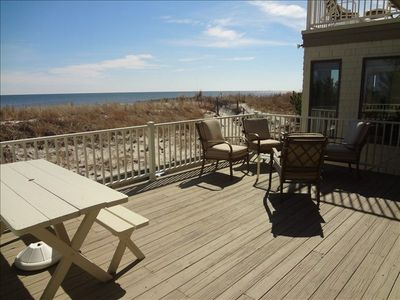 1st floor deck off of main living space. Stairway to ground level and beach.