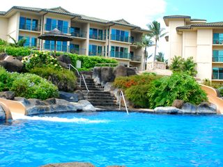 Waipouli condo photo - Beautiful pool with double slides. River current is so fun for young and old.
