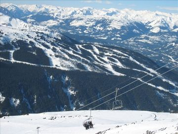 a top view from Blackcomb onto Whistler on a sunny day
