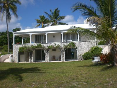 Governor's Harbour estate rental - Rear view of main house, rooms have ocean view
