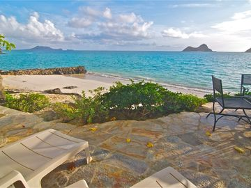 Patio on beach, a perfect place to lounge.