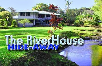 Hilo apartment rental - The RiverHouse from the lower lawn.
