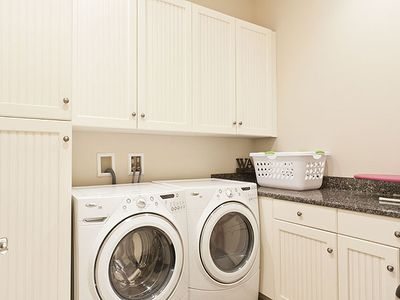 We have two laundry rooms for active families