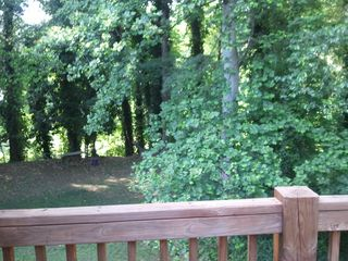 Atlanta house photo - View from deck is wooded with a peek at the neighborhood park through trees.