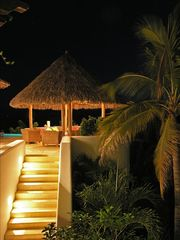 Punta del Burro house photo - palapa - showing stair leading to the garden & beach.
