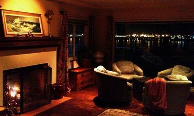 Very romantic setting, wood burning fire, twinkling lights, sounds of the sea