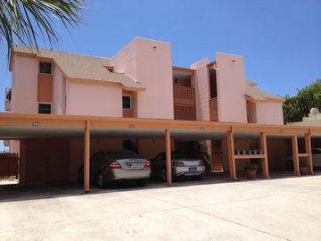 524 Beach Road building showing carport with 2 reserved Penthouse parking spaces