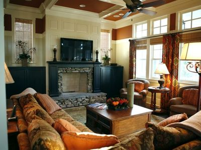 Family Room - Plush Sofas, 50' HD TV, Stacked Stone Fireplace and Game Table