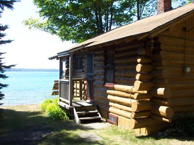 Cottage entrance, Torch Lake in the background