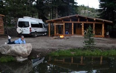 Park you motor-home and rent the Trapper Cabin if you need more room!