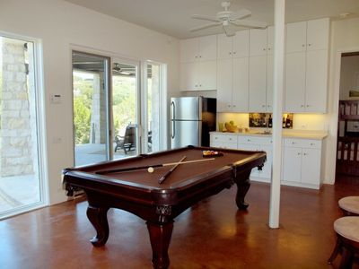 Lakeway estate rental - Game Room has Pool Table, Bar, Seating, Access to Patio