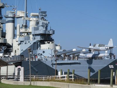 The Battleship North Carolina is across the river and open for viewing.