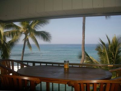 Watch the surf and sunsets from the large tiled lanai.