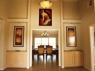 Borrego Springs estate rental - Grand Entry Foyer into Main Residence, with Dining Room Beyond.