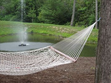 Hammock overlooking pond and fountain