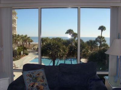 Actual view from our condo, overlooking the pool and the ocean!