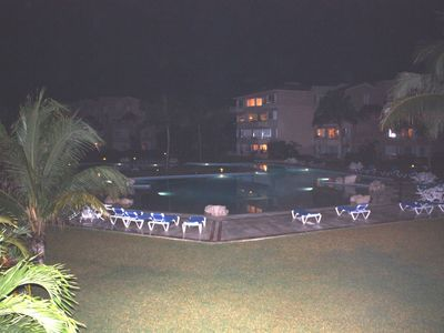 Lit up pool at night