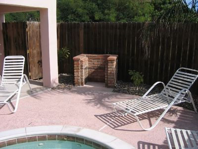 New brick BBQ by pool