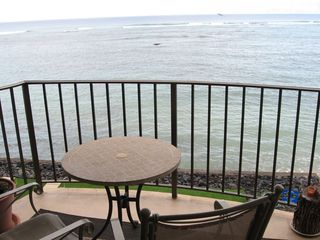 Kahana condo photo - Looking out from the Lanai. You can't get much closer to the water than this