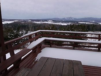 Winter view of Jay Peak from the deck