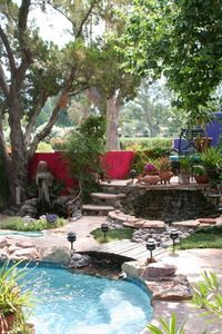 Back yard of your vacation hacienda, showing private pool and viewing platform.