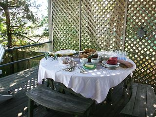 East Quogue house photo - Sunday brunch on the back porch.