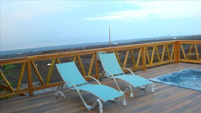 Ocean View house rental - Large Deck with hot tub for ocean viewing and star gazing at night.