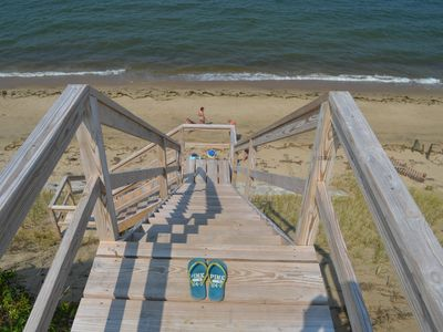 Stairs from the observation deck provide access to your own private beach.