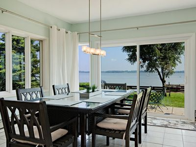 Enjoy the wonderful water views while dining