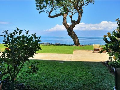 Kahana condo rental - View from unit ground floor lanai out to ocean - close to BBQ to the right