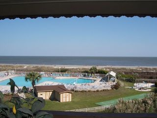 Folly Field condo photo - Hi9lton Head Island Direct view of the pool, beach and ocean from the Balcony