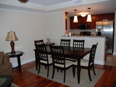 Dining Table with seating for 6 and full kitchen w/appliances and serving wares