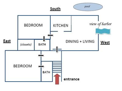 Floor plan of 2BR/2BA apartment with private entrance and LR/Kitchen