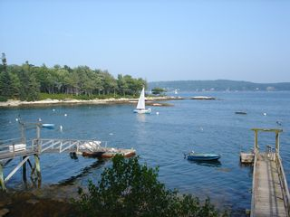 Boothbay Harbor cottage photo - View of the cove from the porch.