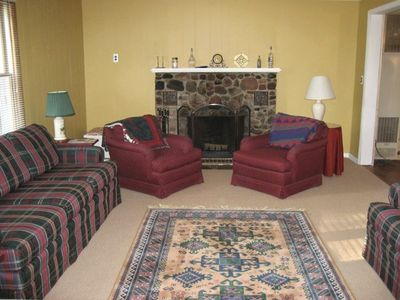 Indian River cottage rental - Family Room, Wood Burning Fireplace