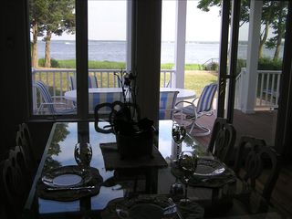 Aquebogue house photo - Dining - in or out on covered deck with barbecue and veiw of bay