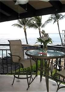 "Lanai view ."" Cafe "" seating for 4 puts your eyes above the railing."