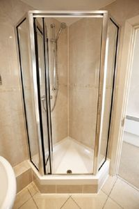 Glass shower in the second bathroom