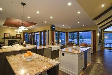open concept kitchen Italian granite, dining room, cafe lounge, orienting views