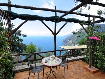 Positano farmhouse rental - TERRACE OF THE DOUBLE ROOM AND THE VIEW